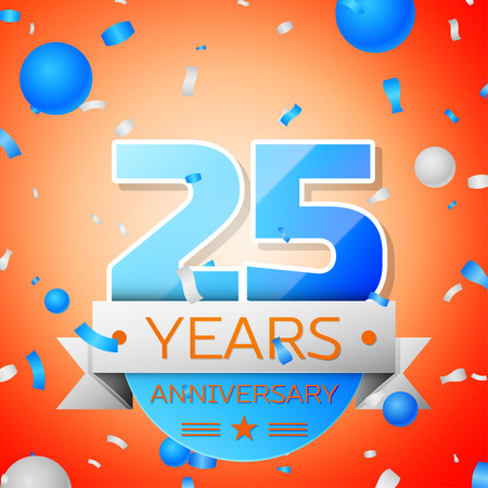 Twenty five years anniversary celebration on orange background. Anniversary ribbon