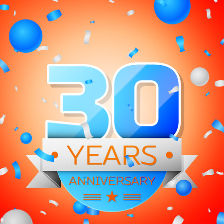 Thirty years anniversary celebration on orange background. Anniversary ribbon