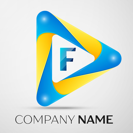 Letter F vector logo symbol in the colorful triangle on grey background. Vector template for your design Illustration