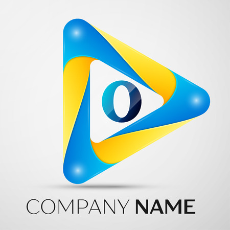 Letter O vector logo symbol in the colorful triangle on grey background. Vector template for your design