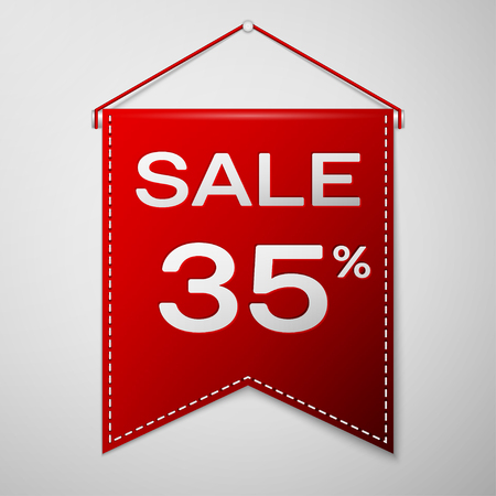 Red pennant with inscription sale thirty five percent Discounts over a grey background. Sale concept for shops store market, web and other commerce. Vector illustration.