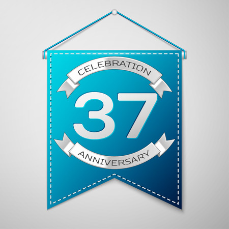 Blue pennant with inscription Thirty seven Years Anniversary Celebration Design over a grey background. Silver ribbon. Colorful template elements for your birthday party. Vector illustration Illustration