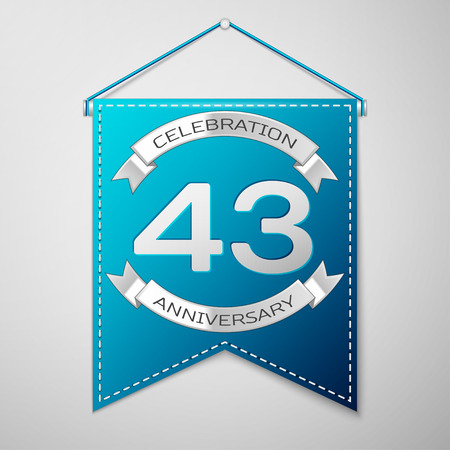 Blue pennant with inscription Forty three Years Anniversary Celebration Design over a grey background. Silver ribbon. Colorful template elements for your birthday party. Vector illustration Illustration