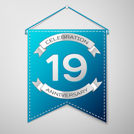 nineteen: Blue pennant with inscription Nineteen Years Anniversary Celebration Design over a grey background. Silver ribbon. Colorful template elements for your birthday party. Vector illustration