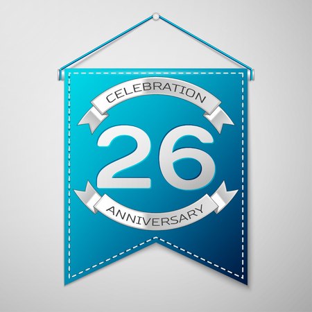 twenty six: Blue pennant with inscription Twenty six Years Anniversary Celebration Design over a grey background. Silver ribbon. Colorful template elements for your birthday party. Vector illustration Illustration