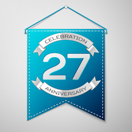 27: Blue pennant with inscription Twenty seven Years Anniversary Celebration Design over a grey background. Silver ribbon. Colorful template elements for your birthday party. Vector illustration
