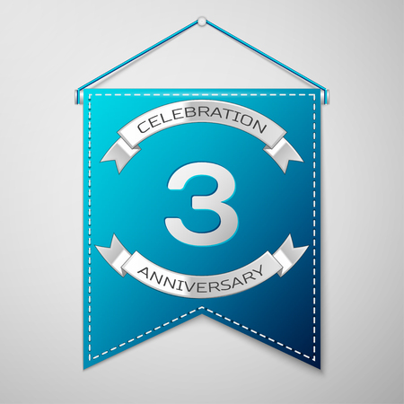 Blue pennant with inscription Three Years Anniversary Celebration Design over a grey background. Silver ribbon. Colorful template elements for your birthday party. Vector illustration