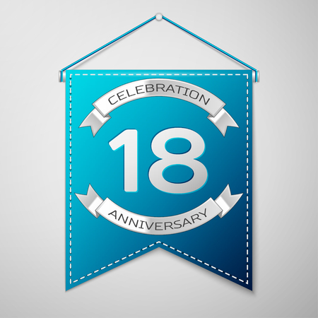 happy 18th birthday: Blue pennant with inscription Eighteen Years Anniversary Celebration Design over a grey background. Silver ribbon. Colorful template elements for your birthday party. Vector illustration