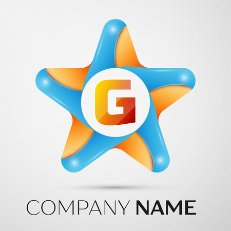 Letter G vector logo symbol in the colorful star on grey background. Vector template for your design