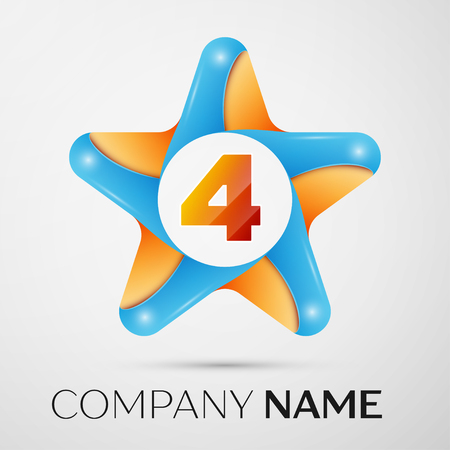 Number four vector logo symbol in the colorful star on grey background. Vector template for your design Illustration