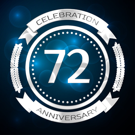 seventy two: Seventy two years anniversary celebration with silver ring and ribbon on blue background. Vector illustration