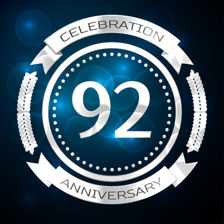 92: Ninety two years anniversary celebration with silver ring and ribbon on blue background. Vector illustration Illustration