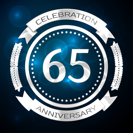 Sixty five years anniversary celebration with silver ring and ribbon on blue background. Vector illustration