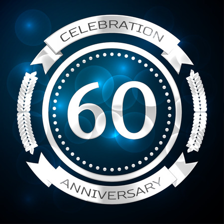 Sixty years anniversary celebration with silver ring and ribbon on blue background. Vector illustration