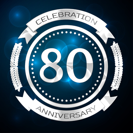 80th: Eighty years anniversary celebration with silver ring and ribbon on blue background. Vector illustration
