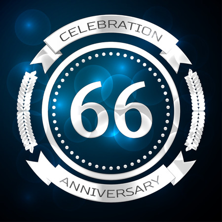 Sixty six years anniversary celebration with silver ring and ribbon on blue background. Vector illustration