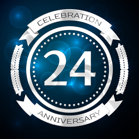 Twenty four years anniversary celebration with silver ring and ribbon on blue background. Vector illustration Иллюстрация