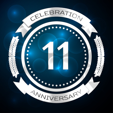 Eleven years anniversary celebration with silver ring and ribbon on blue background. Vector illustration Illusztráció