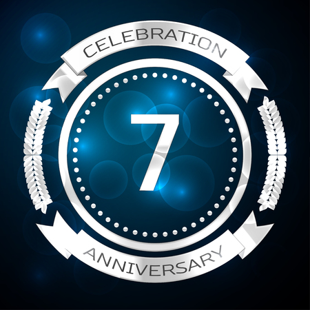 Seven years anniversary celebration with silver ring and ribbon on blue background. Vector illustration