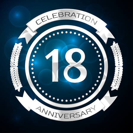 Eighteen years anniversary celebration with silver ring and ribbon on blue background. Vector illustration Illustration