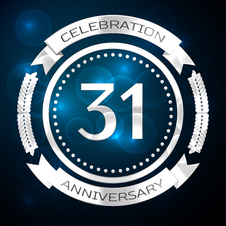 31th: Thirty one years anniversary celebration with silver ring and ribbon on blue background. Vector illustration