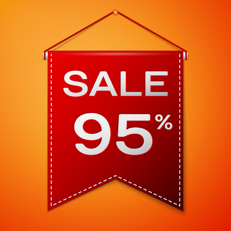 Red pennant with inscription sale ninety five percent Discounts over a orange background. Sale concept for shops store market, web and other commerce. Vector illustration. Illustration