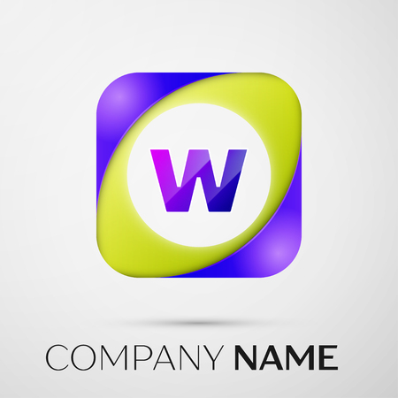 Letter W vector logo symbol in the colorful square on grey background. Vector template for your design
