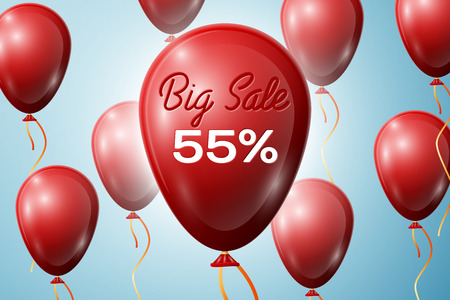 big five: Red Balloons with an inscription Big Sale fifty five percent Discounts. SALE concept for shops store market, web and other commerce. Vector illustration.