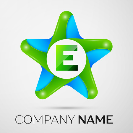 Letter E vector logo symbol in the colorful star on grey background. Vector template for your design