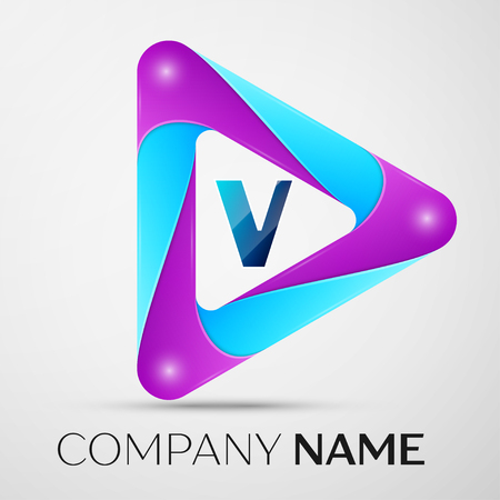 Letter V vector logo symbol in the colorful triangle on grey background. Vector template for your design Illustration