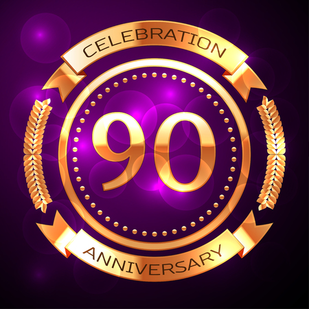 Ninety years anniversary celebration with golden ring and ribbon on purple background. Illustration