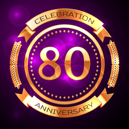 80th: Eighty years anniversary celebration with golden ring and ribbon on purple background.