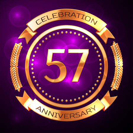 57: Fifty seven years anniversary celebration with golden ring and ribbon on purple background. Illustration