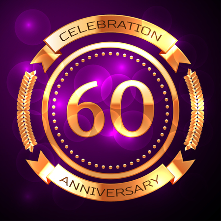 60th: Sixty years anniversary celebration with golden ring and ribbon on purple background. Illustration