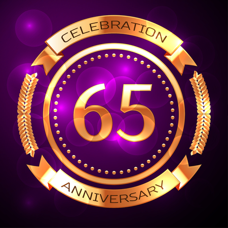 Sixty five years anniversary celebration with golden ring and ribbon on purple background.