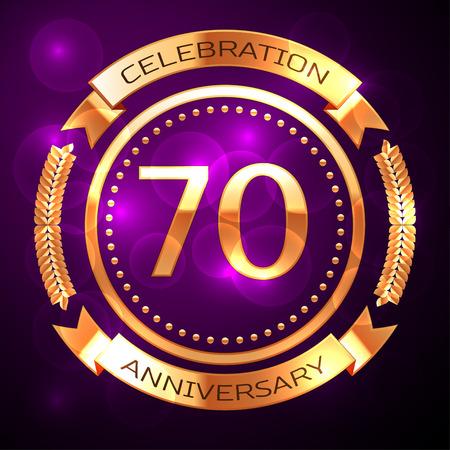 Siebzig Jahre Jubiläumsfeier mit goldenem Ring und Band auf lila Hintergrund