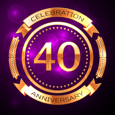 Forty years anniversary celebration with golden ring and ribbon on purple background.