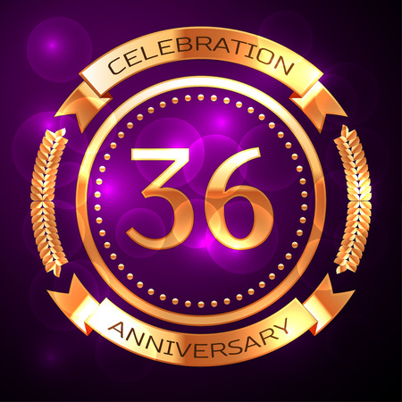 six years age: Thirty six years anniversary celebration with golden ring and ribbon on purple background.