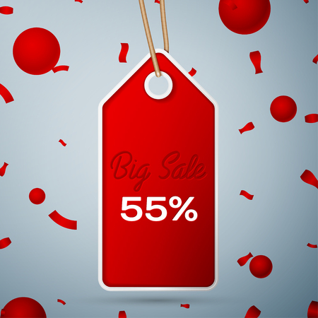Red pennant with an inscription Big Sale fifty five percent Discounts over a grey background and confetti. Sale concept for shops store market, web and other commerce.