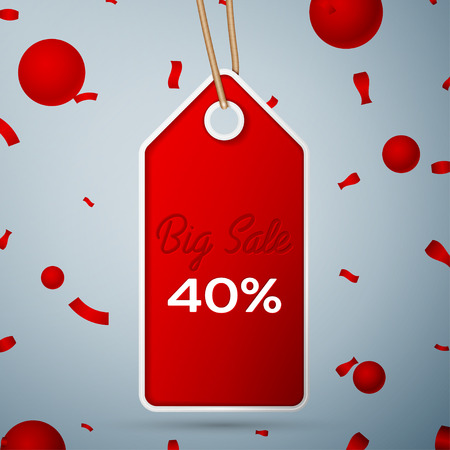 Red pennant with an inscription Big Sale forty percent Discounts over a grey background and confetti. Sale concept for shops store market, web and other commerce.