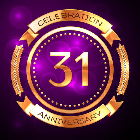 31th: Thirty one years anniversary celebration with golden ring and ribbon on purple background. Illustration