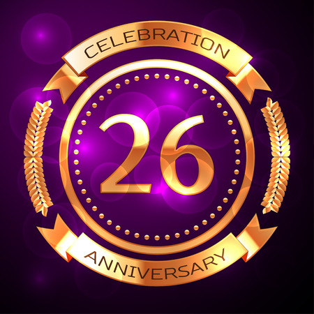Twenty six years anniversary celebration with golden ring and ribbon on purple background.