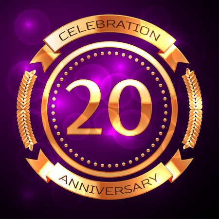 Twenty years anniversary celebration with golden ring and ribbon on purple background.