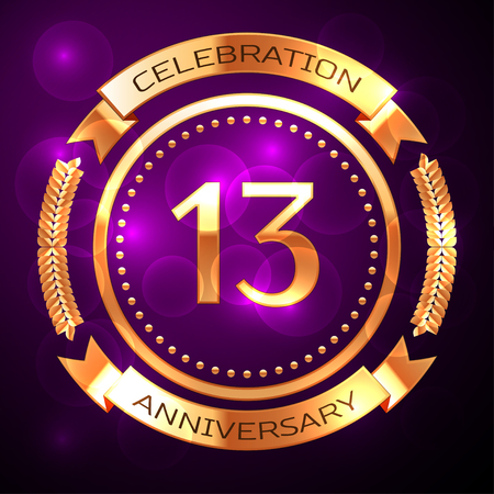 13: Thirteen years anniversary celebration with golden ring and ribbon on purple background.