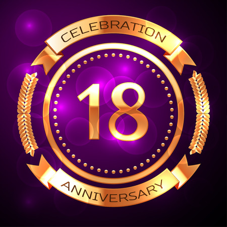 happy 18th birthday: Eighteen years anniversary celebration with golden ring and ribbon on purple background. Illustration