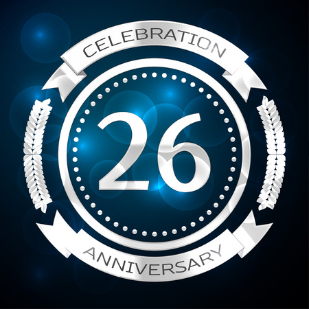 Twenty six years anniversary celebration with silver ring and ribbon on blue background. Vector illustration Illustration
