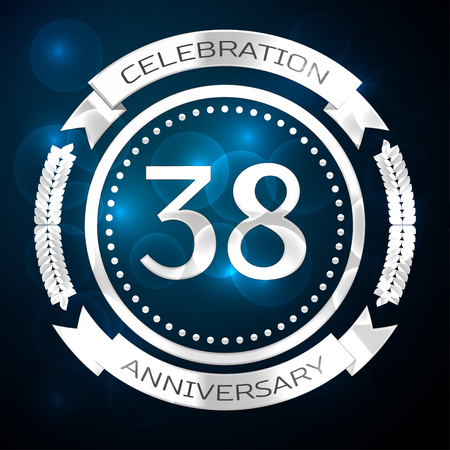 Thirty eight years anniversary celebration with silver ring and ribbon on blue background. Vector illustration