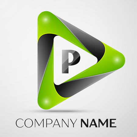 Letter P vector logo symbol in the colorful triangle on grey background. Vector template for your design Ilustração
