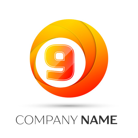 Number nine vector logo symbol in the colorful circle on grey background. Vector template for your design Illustration