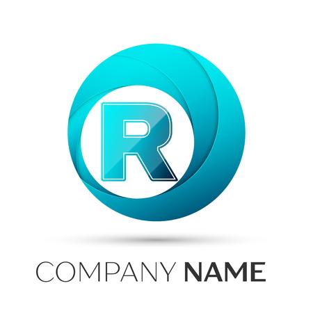 Symbole de logo vectoriel lettre R dans le cercle coloré sur fond gris. Modèle de vecteur pour votre conception